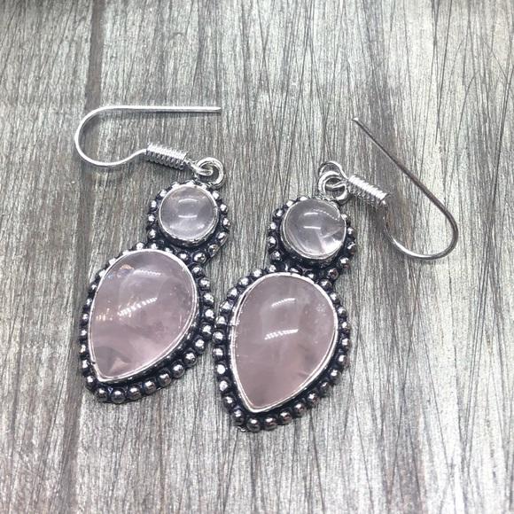 Rose quartz sliver stamped crystal love earrings